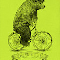 Bears On Bicycles - Lime by Eric Fan