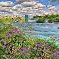 Beautiful Skies And Wildflowers At Niagara Falls by Lynn Bauer