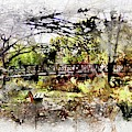 Bench On The River Watercolor by Michael Thomas