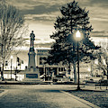 Bentonville Town Square Fountain In Winter - Sepia by Gregory Ballos