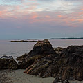 Beverly Ma Rocky Coast Red Sky Sunset by Toby McGuire