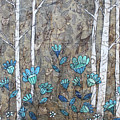 Birches And Blue Flowers by Janyce Boynton