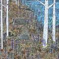 Birches And Purple Flowers by Janyce Boynton