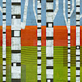 Birches With Olive And Orange 2 by Michelle Calkins