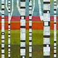 Birches With Pink And Blue And Green by Michelle Calkins