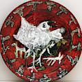Bird On A Ceramic Plate by Artist Dot