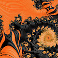 Black And Orange  Swirls by Elisabeth Lucas