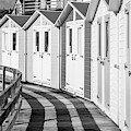 Black And White Bude Beach Huts by Helen Northcott