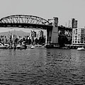 black and white panorama of Vancouver from plaza of nations showing the beautiful city by Kaleb Kroetsch