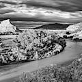 Black And White Photograph Of The Rio Chama And Cerrito Blanco In Abiquiu - Rio Arriba New Mexico by Silvio Ligutti