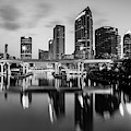 Black And White Tampa Florida Skyline Reflections by Gregory Ballos