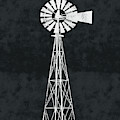 Black And White Windmill 2- Art By Linda Woods by Linda Woods
