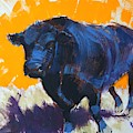 Black Angus Bull Painting by Mike Jory