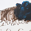Black Cow Lying Down Sketch by Mike Jory