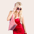 Blond Woman Shopping by Jorgo Photography - Wall Art Gallery
