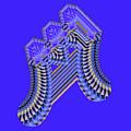 Blue And Gold Fractal Geometic by Judi Suni Hall