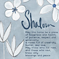 Blue And White Floral Blessing- Art By Linda Woods by Linda Woods