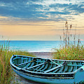 Blue Boat At Dawn by Debra and Dave Vanderlaan