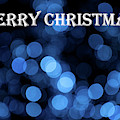 Blue Bokeh - Merry Christmas by Helen Northcott