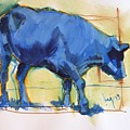 Blue Cow Steer Painting by Mike Jory