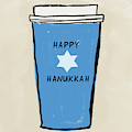 Blue Hanukkah Coffee- Art By Linda Woods by Linda Woods