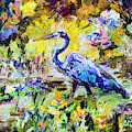 Blue Heron Wetland Magic Palette Knife Oil Painting by Ginette Callaway
