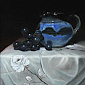 Blue Jar And Dark Purple Grapes by James Zhao