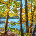 Blue Lake In Autumn by Debra and Dave Vanderlaan