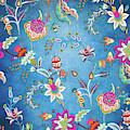 Blue Lapis Velvet Texture Chintz Floral Pattern by Sharon Mau