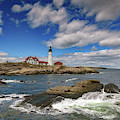 Blue Skies At Portland Head by Rick Berk
