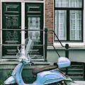 Blue Vespa In Amsterdam by Georgia Fowler