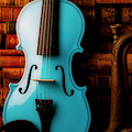 Blue Violin And Old Books by Garry Gay