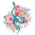 Blue Watercolor Snake In The Flower Garden by Little Bunny Sunshine