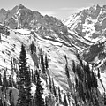 Bluebird Skies Over The Maroon Bells Black And White by Adam Jewell