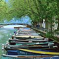 Boats On Canal Du Vasse, Annecy by John Elk Iii