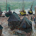 Boats On The Beach At Etretat by Claude Monet