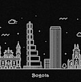 Bogota Skyline Travel Poster by Inspirowl Design