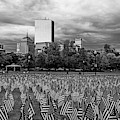 Boston Common Memorial Day Flags Dramatic Sky Boston Ma Black And White by Toby McGuire