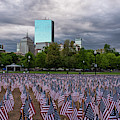 Boston Common Memorial Day Flags Dramatic Sky Boston Ma by Toby McGuire