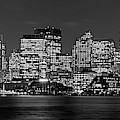 Boston Lit Up For Christmas Panorama Boston Ma Boston Skyline Black And White by Toby McGuire