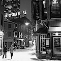 Boston Marshall Street Snowy Street Winter Black And White by Toby McGuire