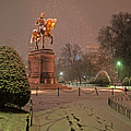 Boston Public Garden Goerge Washington Statue Snowstorm Boston Ma by Toby McGuire