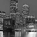 Boston Waterfront Pano Boston Ma Black And White by Toby McGuire