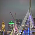 Boston's Custom House Tower And The Zakim Bridge by Kristen Wilkinson