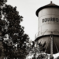 Bourbon Panoramic Sepia Water Tower And Foliage by Gregory Ballos