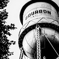 Bourbon Water Tower Framed By Foliage - Monochrome Edition by Gregory Ballos