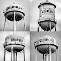 Bourbon Whiskey Water Tower Collage - Monochrome 1x1 by Gregory Ballos