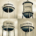 Bourbon Whiskey Water Tower Collage - Vintage Sepia 1x1 by Gregory Ballos