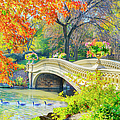 Bow Bridge, Central Park, In Autumn by Mitchell Funk