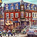 Boys Of St Dominique And Pine Avenue Hockey Art Montreal Plateau Winter Scenes C Spandau Quebec by Carole Spandau